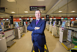 Matt shadowing Edinburgh Airport's chief exec Gordon Dewar as he runs Scotland's busiest airport. Pic of the new bag drop area.