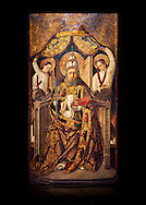Gothic Catalan altarpiece of Saint Peter enthroned, by Roderic d'Orsona of Valencia, circa 1475, tempera and gold leaf on wood.  National Museum of Catalan Art, Barcelona, Spain, inv no: MNAC 15816. Against a black background. . .<br /> <br /> If you prefer you can also buy from our ALAMY PHOTO LIBRARY  Collection visit : https://www.alamy.com/portfolio/paul-williams-funkystock/gothic-art-antiquities.html  Type -     MANAC    - into the LOWER SEARCH WITHIN GALLERY box. Refine search by adding background colour, place, museum etc<br /> <br /> Visit our MEDIEVAL GOTHIC ART PHOTO COLLECTIONS for more   photos  to download or buy as prints https://funkystock.photoshelter.com/gallery-collection/Medieval-Gothic-Art-Antiquities-Historic-Sites-Pictures-Images-of/C0000gZ8POl_DCqE
