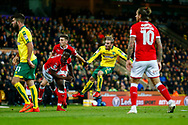 Norwich City midfielder Josh Murphy (11) shoots at goal during the EFL Sky Bet Championship match between Norwich City and Barnsley at Carrow Road, Norwich, England on 18 November 2017. Photo by Phil Chaplin.