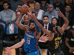 February 8, 2018 - Los Angeles, California, U.S - Corey Brewer #3 of the Los Angeles Lakers defends against  Paul George #13 of the Oklahoma Thunder during their NBA game on Thursday February 8, 2018 at the Staples Center in Los Angeles, California. Lakers vs. Thunder. (Credit Image: © Prensa Internacional via ZUMA Wire)