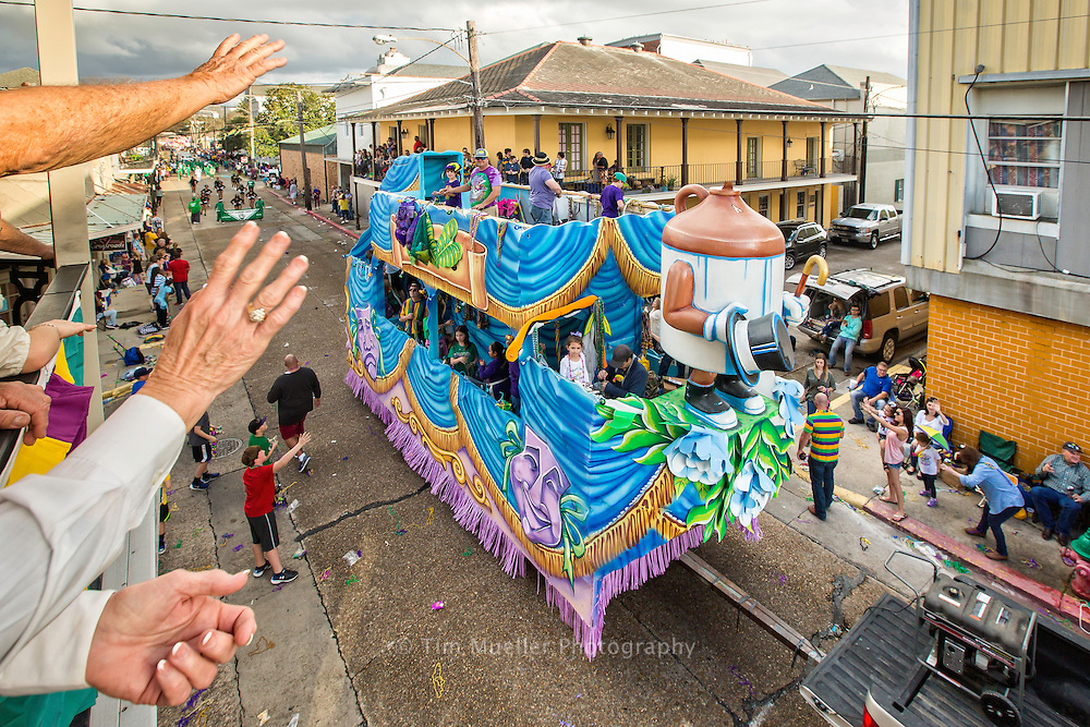 """The Krewe of Ambrosia parades from Nicholls State University and through downtown Thibodaux, La. The 2016 parade is themed, """"Ambrosia on Top of the World"""".  The mardi gras parade features 17 double decker floats, 4 dance groups and 6 marching bands."""