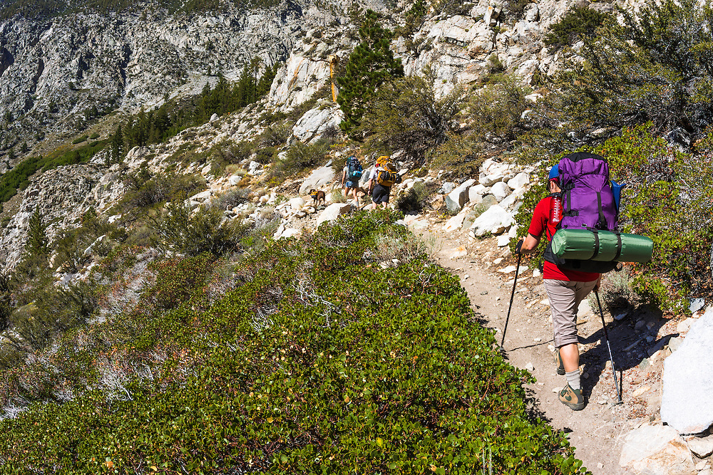 Backpackers on the North Fork of Big Pine Creek, Inyo National Forest, California USA