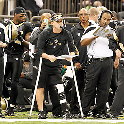 December 4, 2011; New Orleans, LA, USA; New Orleans Saints head coach Sean Payton watches from the sideline during the first quarter of a game against the Detroit Lions at the Mercedes-Benz Superdome. Mandatory Credit: Derick E. Hingle-US PRESSWIRE