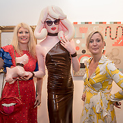 Meredith Ostrom , Pandemonia and Lee Sharrock is a PR attend the Art On The Mind - Private view of an exhibition and auction which benefits homeless charity, Cardboard Citizens.