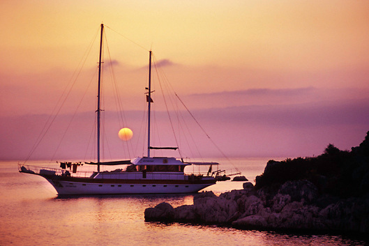Chartered yacht at sunset on the Kekova Sound on the Turquoise Coast of south Turkey
