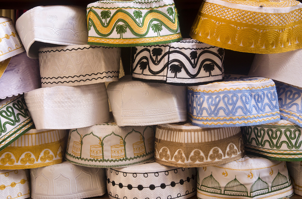 Traditional Moroccan hats on display in Fes medina Morocco