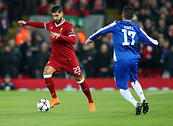 March 6, 2018 - Liverpool, U.S. - 6th March 2018, Anfield, Liverpool, England; UEFA Champions League football, round of 16, 2nd leg, Liverpool versus FC Porto; Emre Can of Liverpool brings the ball forward in midfield as Jesus Manuel Corona of Porto presses  (Photo by Dave Blunsden/Actionplus/Icon Sportswire) ****NO AGENTS---NORTH AND SOUTH AMERICA SALES ONLY****NO AGENTS---NORTH AND SOUTH AMERICA SALES ONLY* (Credit Image: © Dave Blunsden/Icon SMI via ZUMA Press)