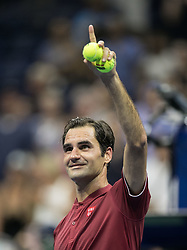 August 28, 2018 - Flushing Meadows, New York, U.S - Roger Federer during his match against Yoshihito Nishioka on Day 2 of the 2018 US Open at USTA Billie Jean King National Tennis Center on Tuesday August 28, 2018 in the Flushing neighborhood of the Queens borough of New York City. Federer defeats Nishioka, 6-2, 6-2, 6-4. (Credit Image: © Prensa Internacional via ZUMA Wire)
