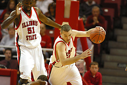 19 November 2005: Ronnie Carlwell pulls up to avoid stepping on a defender as Brandon Holtz takes charge at the Hounds end of the floor and heads for his own home. In a non-conference race that came down to a photo finish, the Illinois State Redbirds slipped past the Indianapolis University Greyhounds 54-50 at Redbird Arena in Normal Illinois