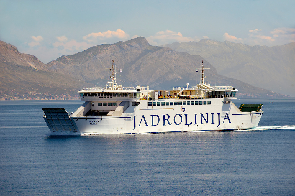 Jardolinja Car ferry Croatian Island, Croatia, Dalmatia .<br /> <br /> Visit our CROATIA HISTORIC SITES PHOTO COLLECTIONS for more photos to download or buy as wall art prints https://funkystock.photoshelter.com/gallery-collection/Pictures-Images-of-Croatia-Photos-of-Croatian-Historic-Landmark-Sites/C0000cY_V8uDo_ls