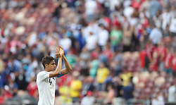 MOSCOW, June 26, 2018  Raphael Varane of France greets the audience after the 2018 FIFA World Cup Group C match between Denmark and France in Moscow, Russia, June 26, 2018. The match ended in a 0-0 draw. France and Denmark advanced to the round of 16. (Credit Image: © Xu Zijian/Xinhua via ZUMA Wire)
