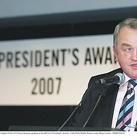 17 March 2007; President of the GAA Nickey Brennan speaking at the 2007 GAA President's Awards. Croke Park, Dublin. Picture credit: Brian Lawless / SPORTSFILE