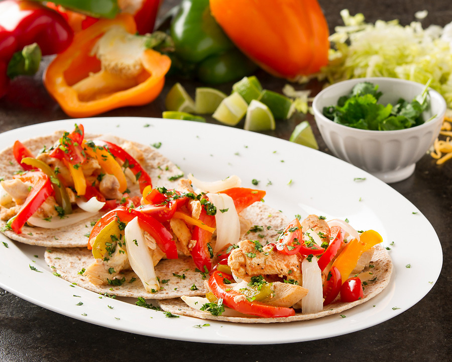 Fresh taco trio with individual ingredients