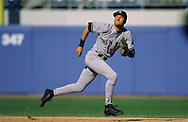 CHICAGO - 1999:  Derek Jeter of the New York Yankees fields during an MLB game versus the Chicago White Sox during the 1999 season at Comiskey Park in Chicago, Illinois. (Photo by Ron Vesely)  Subject:   Derek Jeter