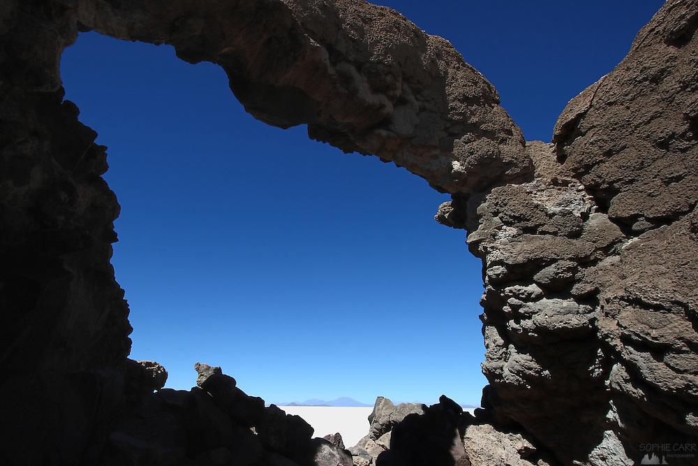 Rock formation on Isla Incahuasi, in the middle of Bolivia's Salar de Uyuni
