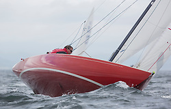 International Dragon Class Edinburgh Cup 2015.<br /> <br /> The first days racing in a strong southerly.<br /> <br /> GBR489, KESTRA, Richard Leask, Royal Forth YC<br /> <br /> <br /> Credit Marc Turner