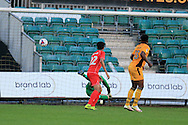Marlon Jackson of Newport county (13)  scores his teams 1st goal. EFL cup, 1st round match, Newport county v Milton Keynes Dons at Rodney Parade in Newport, South Wales on Tuesday 9th August 2016.<br /> pic by Andrew Orchard, Andrew Orchard sports photography.