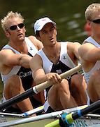 Amsterdam, HOLLAND, GBR M8+,bow, Alex PARTRIDGE, Colin SMITH, move away from the start of the heat of the men's eights, at the 2007 FISA World Cup Rd 2 at the Bosbaan Regatta Rowing Course. [Date] [Mandatory Credit: Peter Spurrier/Intersport-images]..... , Rowing Course: Bosbaan Rowing Course, Amsterdam, NETHERLANDS