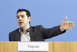 Alexis Tsipras Chairman the left Greek Election Alliance Syriza during a Press conference in Berlin. Photo By imago/i-Images