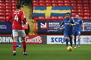 AFC Wimbledon striker Andy Barcham (17) dribbling during the EFL Sky Bet League 1 match between Charlton Athletic and AFC Wimbledon at The Valley, London, England on 15 December 2018.