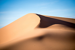 9 January 2018, Erg Chebbi, Morocco: The dunes of Erg Chebbi is one of Morocco's two Saharan seas of sand dunes, formed by the wind. The dunes of Erg Chebbi reach a height of up to 150 meters in places and altogether it spans an area of 50 kilometers from north to south and up to 5–10 kilometers from east to west lining the Algerian border.