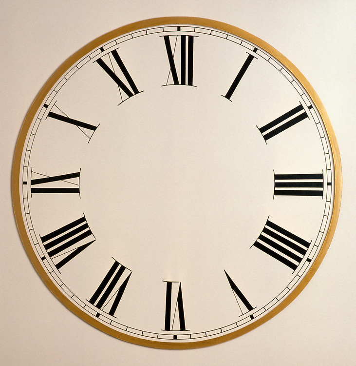 Blank clock face with roman numerals and no hands