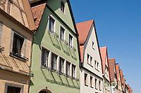 Colorful building along Galgengasse, Rothenburg ob der Tauber, Franconia, Bavaria, Germany