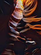 Inside the Upper Antelope slot canyon near Page, Arizona.