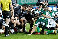 Richard Hibbard (Dragons) during the scrum during the Guinness Pro 14 rugby union match between Benetton Treviso and Dragons Rugby on November 29, 2020 at the Monigo stadium in Treviso, Italy - Photo Ettore Griffoni / LM / ProSportsImages / DPPI