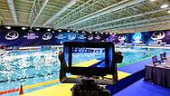 Venues<br /> - (white cap) vs  -(blue cap)<br /> LEN Champions League Ostia<br /> Polo Natatorio Freccia Rossa <br /> Ostia, Italy ITA <br /> Photo © P. Mesiano/Deepbluemedia