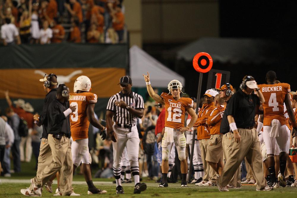 Colt McCoy, #12 quarterback, Texas Longhorns. Missouri at Texas. Darrell K. Royal-Texas Memorial Stadium, Austin, Texas, Saturday, October 18, 2008. Photograph © 2008 Darren Carroll.