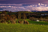 Just before sunset across the rolling hills of Victoria's beautiful Yarra Valley as winter storms passed through.