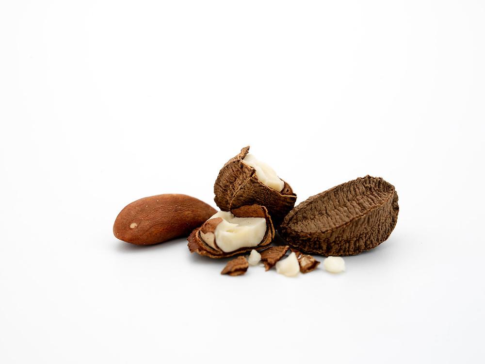 Brazil nuts on white background