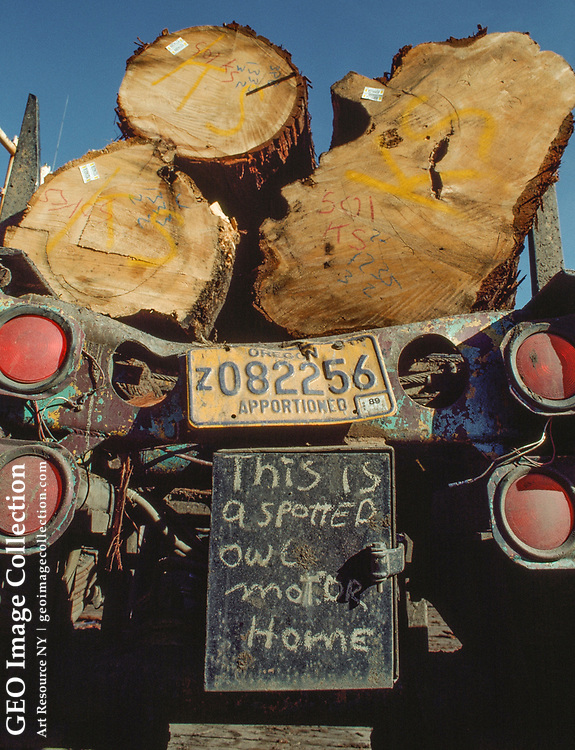 A logging truck refers to an environmental controversy.
