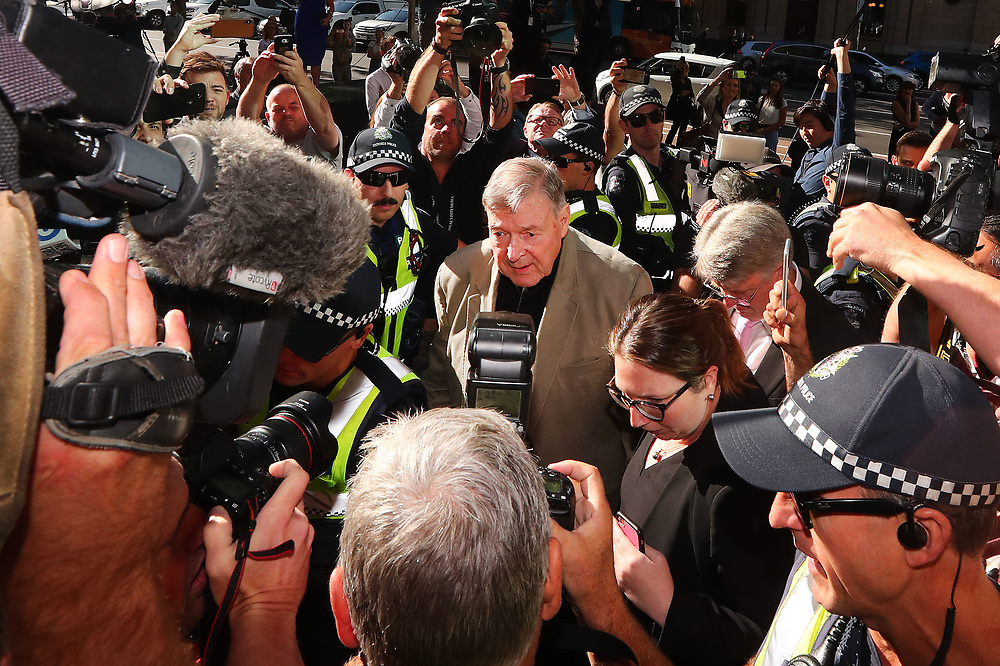 MELBOURNE, AUSTRALIA - FEBRUARY 27: George Pell arrives at Melbourne County Court on February 27, 2019 in Melbourne, Australia. Pell, once the third most powerful man in the Vatican and Australia's most senior Catholic, was found guilty on 11 December in Melbourne's county court, but the result was subject to a suppression order and was only able to be reported from Tuesday. The jury was unanimous in their verdict, finding Pell guilty on five counts of child sexual assault in December 1996 and early 1997 at St Patrick's Cathedral.  (Photo by Michael Dodge/Getty Images)