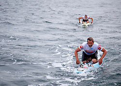 © Licensed to London News Pictures. English Channel. UK 27/07/2011.Nick Thorne (Front) and Dave Manley (Back) pictured. Surf Relief UK paddlers Dave Manley, Nick Thorn, Phil Williams and Toby Lowe paddle surf boards across the 22 miles of the English Channel from Shakespeare Beach, Dover to Cap Gris Nez in France yesterday (26/07/2011). The team smashed their previous predicted 6 hour time, crossing in 5 hours 20 minutes. The team will raise more than £3000 for Surf Relief UK which provides surfing lessoms for disabled and disadvantaged children across the UK. Photo credit: Manu Palomeque/LNP