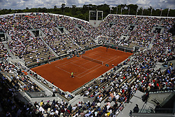 May 29, 2019 - Paris, France - Spain's Rafael Nadal (L)  returns   the ball to Germany's Yannick Maden during their men's singles second round match on day four of The Roland Garros 2019 French Open tennis tournament in Paris on May 29, 2019. (Credit Image: © Ibrahim Ezzat/NurPhoto via ZUMA Press)