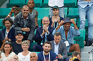 Yannick Noah, Guy Forget and Cedric Pioline celebrated the victory of Nicolas MAHUT (FRA) and Pierre-Hugues HERBERT (FRA) at double men during the Roland Garros French Tennis Open 2018, Final Women, on June 9, 2018, at the Roland Garros Stadium in Paris, France - Photo Stephane Allaman / ProSportsImages / DPPI