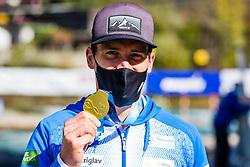 Luka BOZIC (SLO) with gold medal at Canoe Finals at World Cup Tacen, 18 October 2020, Tacen, Ljubljana Slovenia. Photo by Grega Valancic / Sportida