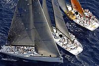 Seiling<br /> Foto: Dppi/Digitalsport<br /> NORWAY ONLY<br /> <br /> SAILING - TP52 BREITLING MEDCUP 2006 - ATHENS TROPHY 2006 - 19 TO 26/08/2006<br /> <br /> FRAM XVI (NOR) - BRIBON (ESP) - CAIXA GALICIA (ESP) - EDITORIAL USE ONLY