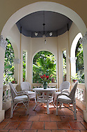 Large veranda of a French Colonial house, a key feature of French architecture left in Vietnam after colonialization, Ho Chi Minh City, Southeast Asia