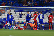 Shane Duffy of Blackburn Rovers (on ground) looks on dejected after he scores an own goal, his second, to score Cardiff city's 2nd goal. EFL Skybet championship match, Cardiff city v Blackburn Rovers at the Cardiff city stadium in Cardiff, South Wales on Wednesday 17th August 2016.<br /> pic by Andrew Orchard, Andrew Orchard sports photography.