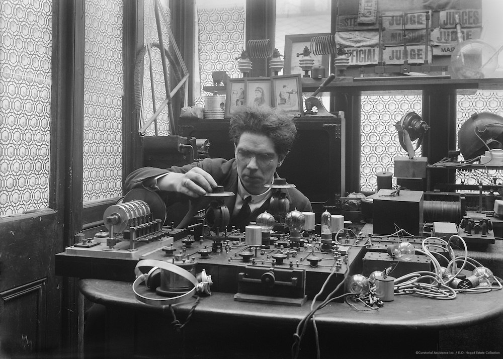 """Archibald Montgomery Low, inventor and physicist,  """"the father of radio guidance systems"""", at work in his laboratory, 1919"""