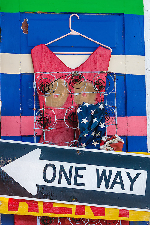 One way sign, Heidelberg Project, Detroit, Michigan.  The Heidelberg Project is a grass roots project started by artist Tyree Guyton that uses art to help revitalize the embattled neighborhood.  Each year, over 275,000 people visit the project .  For more information, go to www.heidelberg.org