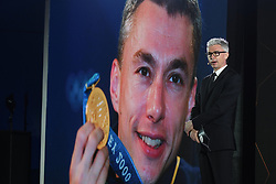 February 23, 2019 - Abu Dhabi, United Arab Emirates - Jonathan Edwards, the event host, an Olympic, World, Commonwealth and European champion in triple jump, and a holder of the world record in the event since 1995, during the Team Presentation, at the opening ceremony of the 1st UAE Tour, inside Louvre Abu Dhabi museum..On Saturday, February 23, 2019, Abu Dhabi, United Arab Emirates. (Credit Image: © Artur Widak/NurPhoto via ZUMA Press)