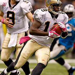 October 3, 2010; New Orleans, LA, USA; New Orleans Saints wide receiver Devery Henderson (19) runs an end around against the Carolina Panthers during the second half at the Louisiana Superdome. The Saints defeated the Panthers 16-14. Mandatory Credit: Derick E. Hingle