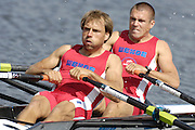 Poznan, POLAND, DEN LM2X, Bow, Mads RASMUSSEN and Rasmus QUIST, at the start of their semi final at the 2008 FISA World Cup. Rowing Regatta. Malta Rowing Course on Saturday, 21/06/2008. [Mandatory Credit:  Peter SPURRIER / Intersport Images] Rowing Course:Malta Rowing Course, Poznan, POLAND