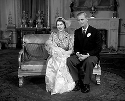 21/10/1950. Princess Elizabeth and the Duke of Edinburgh with their daughter Princess Anne, after her christening at Buckingham Palace, London. The Royal couple will celebrate their platinum wedding anniversary on November 20.