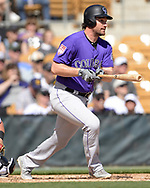 GLENDALE, ARIZONA - MARCH 02:  Daniel Murphy #9 of the Colorado Rockies bats against the Chicago White Sox on March 2, 2019 at Camelback Ranch in Glendale Arizona.  (Photo by Ron Vesely)  Subject:  Daniel Murphy