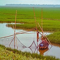 Fishermen wait by their nets between rice paddies near Dhaka, Bangladesh.